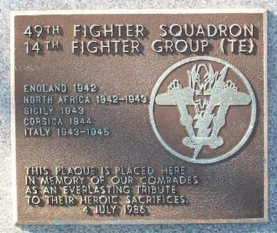 49th Fighter Squadron - 14th Fighter Group (TE) Marker image. Click for full size.