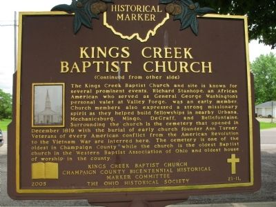Kings Creek Baptist Church Marker image. Click for full size.