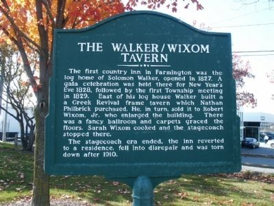 The Walker/Wixom Tavern Marker image. Click for full size.