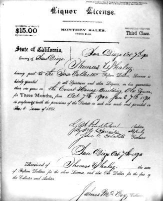 Liquor License<br>To Thomas Whaley<br>1860 - 1880 image. Click for full size.
