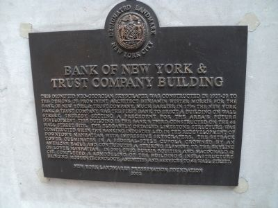 Bank of New York and & Trust Company Building Marker image. Click for full size.