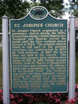 St. Joseph's Church Marker image. Click for full size.