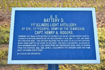 U.S. Battery D, 1st Illinois Light Artillery Marker image. Click for full size.