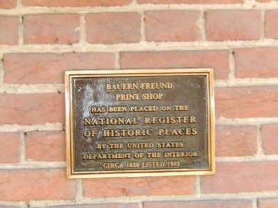 Enos Benner Plaque on the Print Shop image. Click for full size.