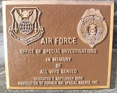 Air Force Office of Special Investigations Marker image. Click for full size.