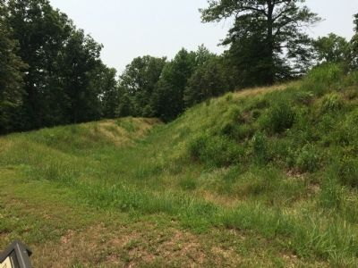 Surviving portion of the Confederate wall at Fort Harrison image. Click for full size.
