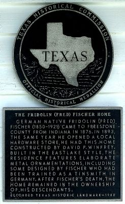 The Fridolin (Fred) Fischer Home Marker image. Click for full size.