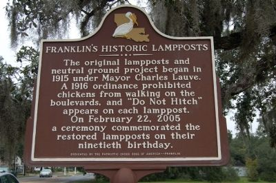 Franklin's Historic Lampposts Marker image. Click for full size.