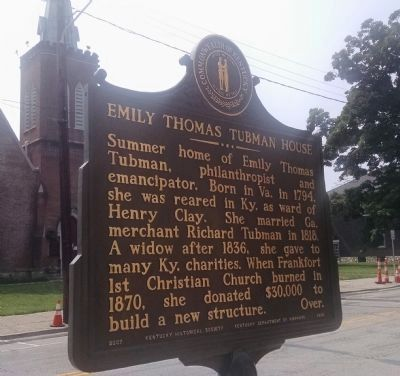 Emily Thomas Tubman House Marker (Side A) image. Click for full size.