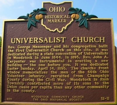 Universalist Church Marker image. Click for full size.