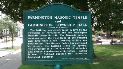 Farmington Masonic Temple and Farmington Township Hall Marker image. Click for full size.