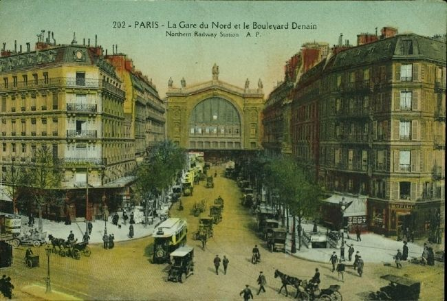 <i> Paris - La Gare du Nord et le Boulevard Denain      Northern Railway Station A.P. image. Click for full size.