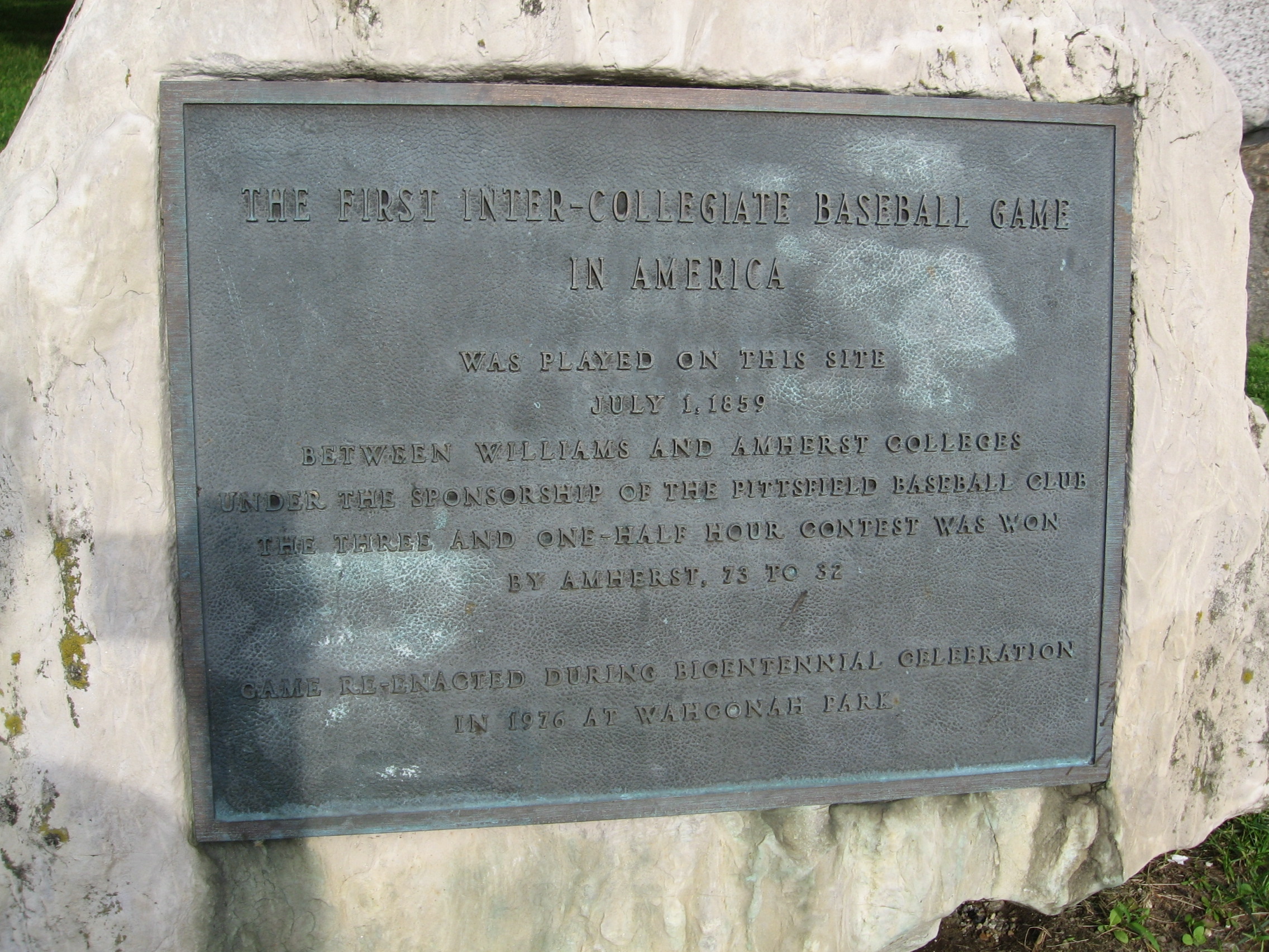 The First Inter-Collegiate Baseball Game Marker