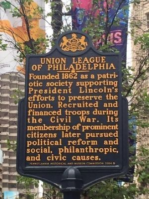 Union League of Philadelphia Marker image. Click for full size.