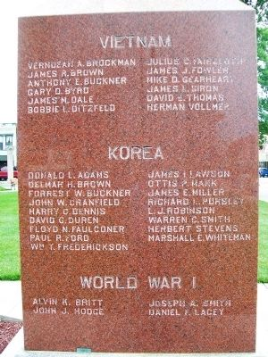 World War I, Korea, Vietnam Memorial Marker image. Click for full size.