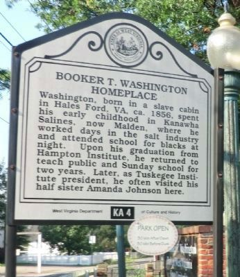 Malden / Booker T. Washington Homeplace Marker image. Click for full size.