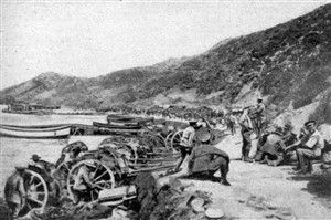 Anzac Cove just after the first landing image. Click for full size.