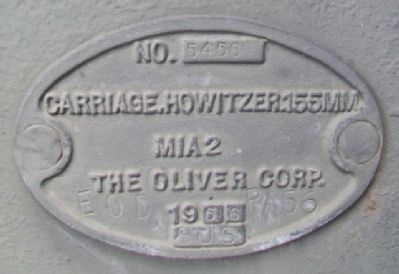 War Memorial 155mm Howitzer Carriage Plate image. Click for full size.