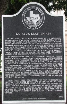 Ku Klux Klan Trials Texas Historical Marker image. Click for full size.