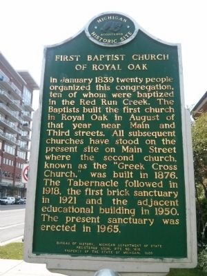 First Baptist Church of Royal Oak Marker image. Click for full size.