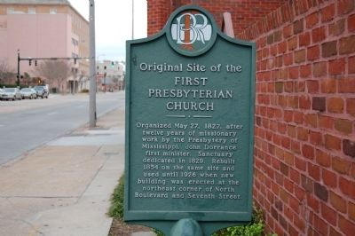 Original Site of the First Presbyterian Church Marker image. Click for full size.