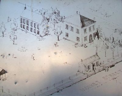 Public Square Drawing on Johnson County's Old Courthouse Marker image. Click for full size.