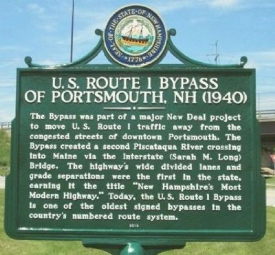 US Route 1 Bypass of Portsmouth NH 1940 Marker image. Click for full size.