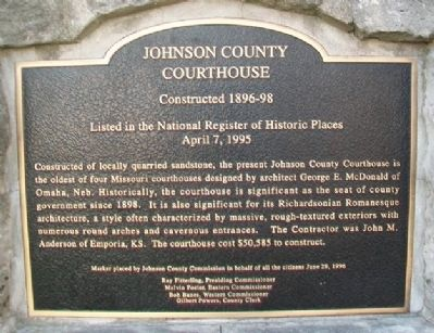 Johnson County Courthouse Marker image. Click for full size.
