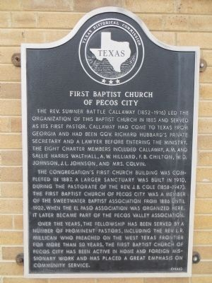 First Baptist Church of Pecos City Marker image. Click for full size.