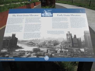 The First Grain Elevator / Early Grain Elevators Marker image. Click for full size.