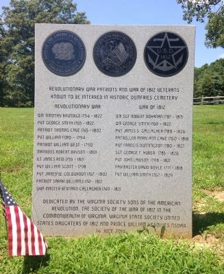 Revolutionary War Patriots and War of 1812 Veterans Marker image. Click for full size.