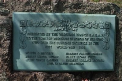 Wareham World War I Monument Marker image. Click for full size.