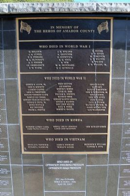 In Memory of the Heros of Amador County Marker image. Click for full size.