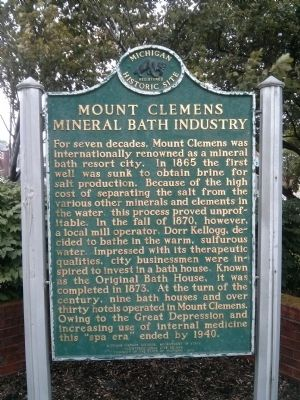 Mount Clemens Mineral Bath Industry Marker image. Click for full size.