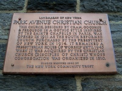 Park Avenue Christian Church Marker image. Click for full size.