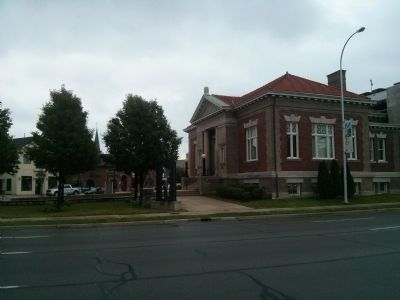 Carnegie Library and Marker - from Southbound Gratiot Avenue image. Click for full size.