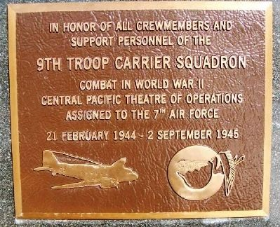 9th Troop Carrier Squadron Marker image. Click for full size.