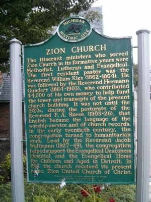 Zion Church Marker image. Click for full size.