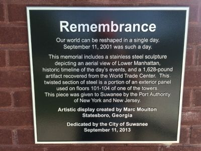 Suwanee, Georgia 9/11 Memorial Marker image. Click for full size.