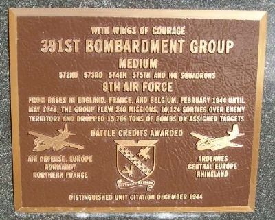 391st Bombardment Group (Medium) Marker image. Click for full size.