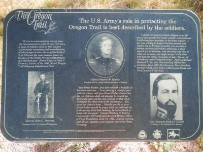 The US Army's Role in Protecting the Oregon Trail is Best Described by the Soldiers Marker, panel 1 image. Click for full size.