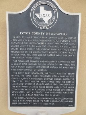 Ector County Newspapers Marker image. Click for full size.