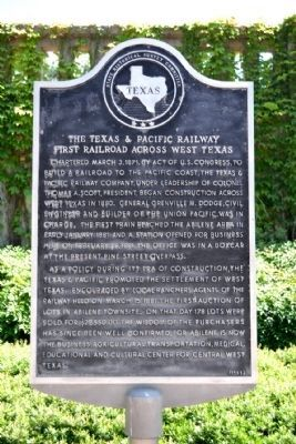 The Texas & Pacific Railway Marker image. Click for full size.