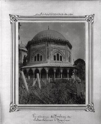 <i>Exterior view of the Mausoleum of Sultan Süleyman</i> image. Click for full size.