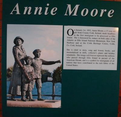 Annie Moore Statue Information image. Click for full size.