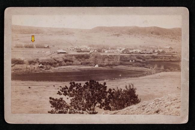 Period image of laundress quarters (arrow) at Fort Stanton image. Click for full size.