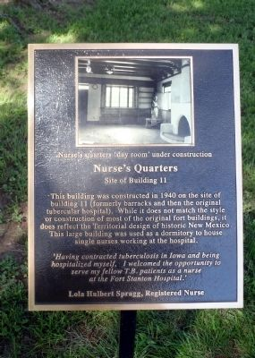 Nurse's Quarters Marker image. Click for full size.