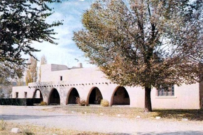 Color picture postcard of the Fort Stanton Nurses Quarters as viewed from Kit Carson Road. image. Click for full size.