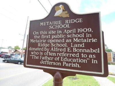 Metairie Ridge School Marker image. Click for full size.