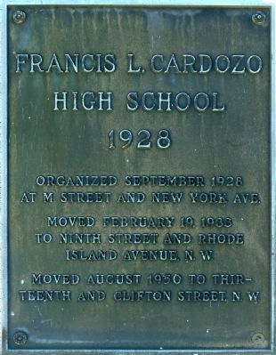 Francis L. Cardozo High School Marker image. Click for full size.